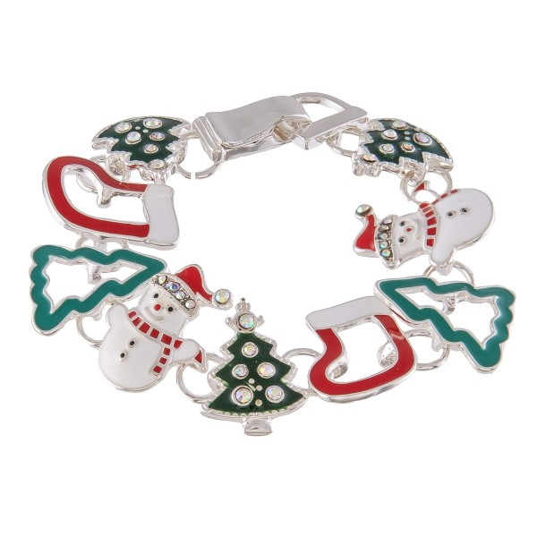 "Enamel Coated Christmas Charm Magnetic Bracelet.  - Magnetic Hook Closure - Approximately 3"" in Diameter - Fits up to a 6"" Wrist"