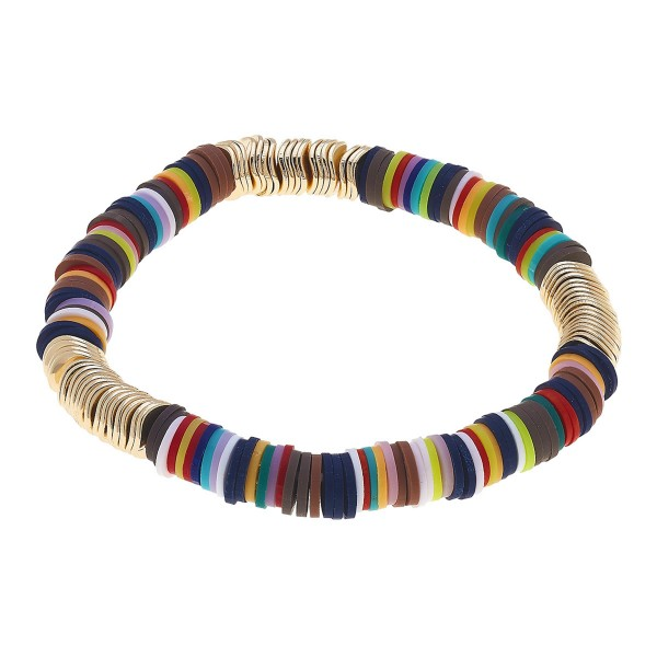 "Dark Multicolor Polymer Clay Spacer Beaded Stretch Bracelet in Gold.  - Polymer clay discs & worn gold plated beads - Approximately 3"" in Diameter - Stretch - 1 size fits most"