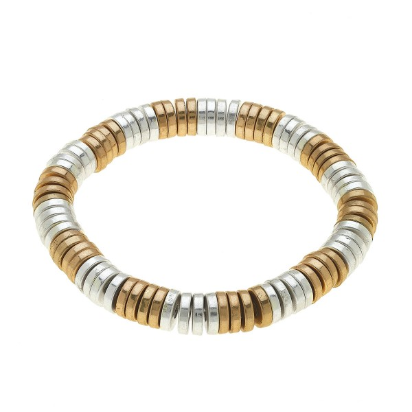 "Two Tone Beaded Stretch Bracelet in Worn Gold.  - Worn gold plated beads - Approximately 3"" in Diameter - Stretch - 1 size fits most"