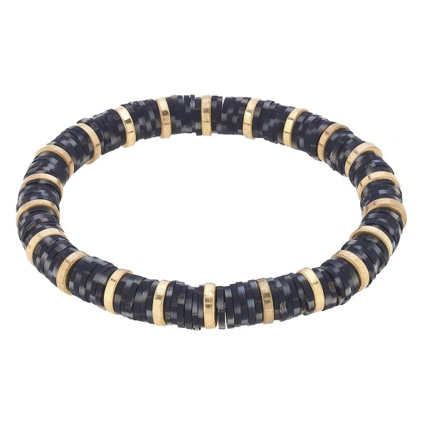 "Speckled Polymer Clay Spacer Beaded Stretch Bracelet Featuring Worn Gold Plated Beads.  - Polymer clay discs & worn gold plated beads - Approximately 3"" in Diameter - Stretch - 1 size fits most"