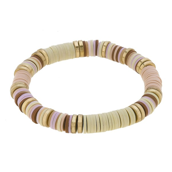 "Polymer Clay Spacer Beaded Stretch Bracelet Featuring Worn Gold Plated Beads.  - Polymer clay discs & worn gold plated beads - Approximately 3"" in Diameter - Stretch - 1 size fits most"