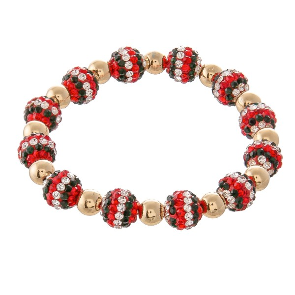 """Christmas Holiday Rhinestone Ball Beaded Stretch Bracelet in Gold.  - Bead 9mm  - Approximately 3"""" in Diameter - Fits up to a 7"""" Wrist"""