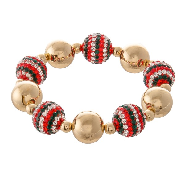 "Christmas Holiday Rhinestone Beaded Stretch Statement Bracelet in Gold.  - Bead 15mm - Approximately 3"" in Diameter - Fits up to a 7"" Wrist"