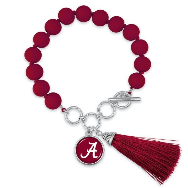 "Alabama Beaded Game Day Tassel Bracelet Featuring Adjustable Toggle Bar.  - Charm & Tassel (approx) 1"" - Bead Size: 9mm - Approximately 3"" in Diameter - Fits up to a 7"" Wrist"