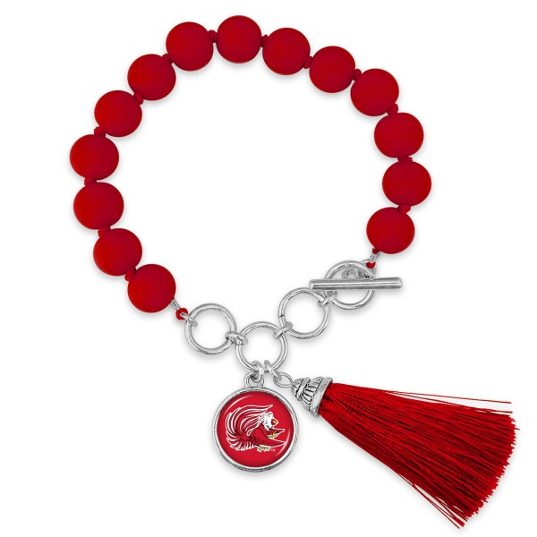 """Jacksonville State University Beaded Game Day Tassel Bracelet Featuring Adjustable Toggle Bar.  - Charm & Tassel (approx) 1"""" - Bead Size: 9mm - Approximately 3"""" in Diameter - Fits up to a 7"""" Wrist"""