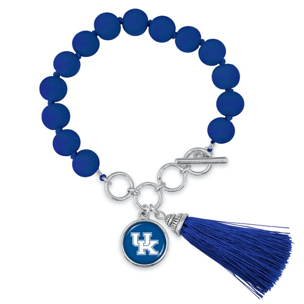 "Kentucky Beaded Game Day Tassel Bracelet Featuring Adjustable Toggle Bar.  - Charm & Tassel (approx) 1"" - Bead Size: 9mm - Approximately 3"" in Diameter - Fits up to a 7"" Wrist"