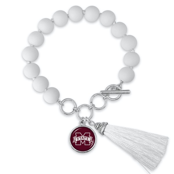 "Mississippi State Beaded Game Day Tassel Bracelet Featuring Adjustable Toggle Bar.  - Charm & Tassel (approx) 1"" - Bead Size: 9mm - Approximately 3"" in Diameter - Fits up to a 7"" Wrist"