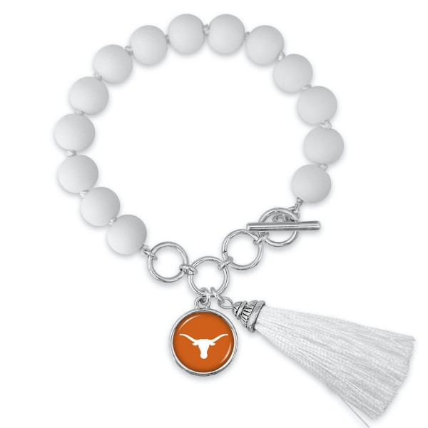 "Texas Longhorn Beaded Game Day Tassel Bracelet Featuring Adjustable Toggle Bar.  - Charm & Tassel (approx) 1"" - Bead Size: 9mm - Approximately 3"" in Diameter - Fits up to a 7"" Wrist"