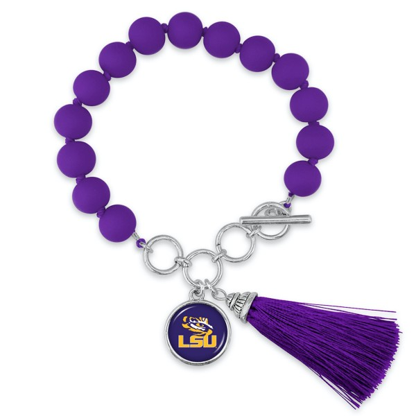 "LSU Beaded Game Day Tassel Bracelet Featuring Adjustable Toggle Bar.  - Charm & Tassel (approx) 1"" - Bead Size: 9mm - Approximately 3"" in Diameter - Fits up to a 7"" Wrist"