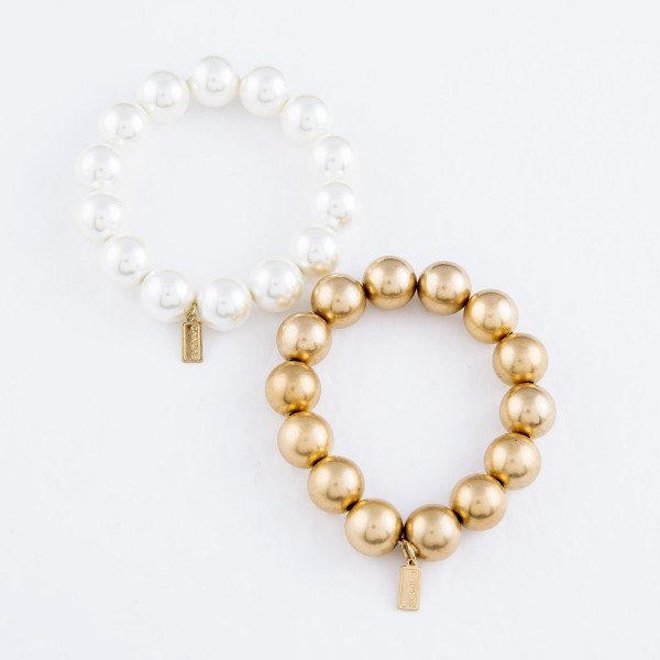 "Beaded Stretch Bracelet in Gold.  - 15mm Bead Size - Approximately 3"" in Diameter - Fits up to a 7"" Wrist"