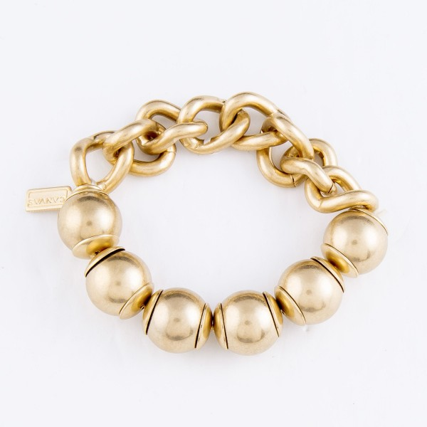 "Chain Link Beaded Stretch Bracelet in Gold.  - 15mm Bead Size - Approximately 3"" in Diameter - Fits up to a 7"" Wrist"