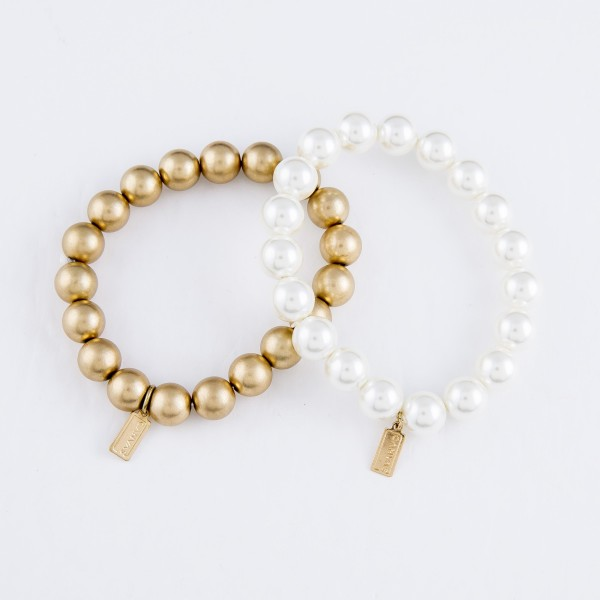 "Beaded Stretch Bracelet in Gold.  - 10mm Bead Size - Approximately 3"" in Diameter - Fits up to a 7"" Wrist"