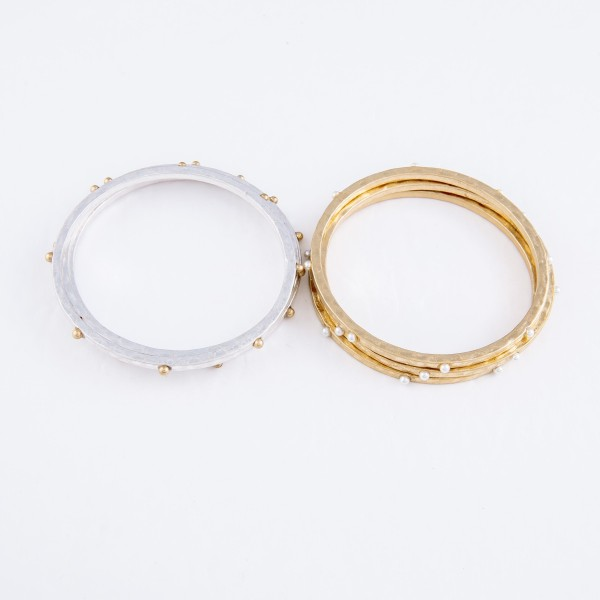 "Two Tone Hammered Bangle Bracelet Set Featuring Stud Accents.  - 3 Pieces Per Set - Approximately 3"" in Diameter - Fits up to a 6"" Wrist"