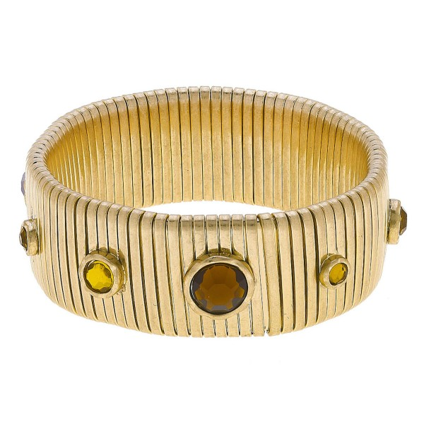 "Watch Band Bangle Bracelet in Gold Featuring Rhinestone Accents.  - Band Width 24mm - Approximately 3"" in Diameter - Fits up to a 7"" Wrist"