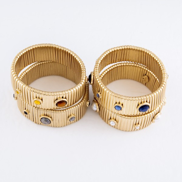 """Watch Band Bangle Bracelet in Gold Featuring Rhinestone Accents.  - Band Width 24mm - Approximately 3"""" in Diameter - Fits up to a 7"""" Wrist"""