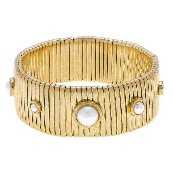 "Watch Band Bangle Bracelet in Gold Featuring Ivory Pearl Accents.  - Band Width 24mm - Approximately 3"" in Diameter - Fits up to a 7"" Wrist"