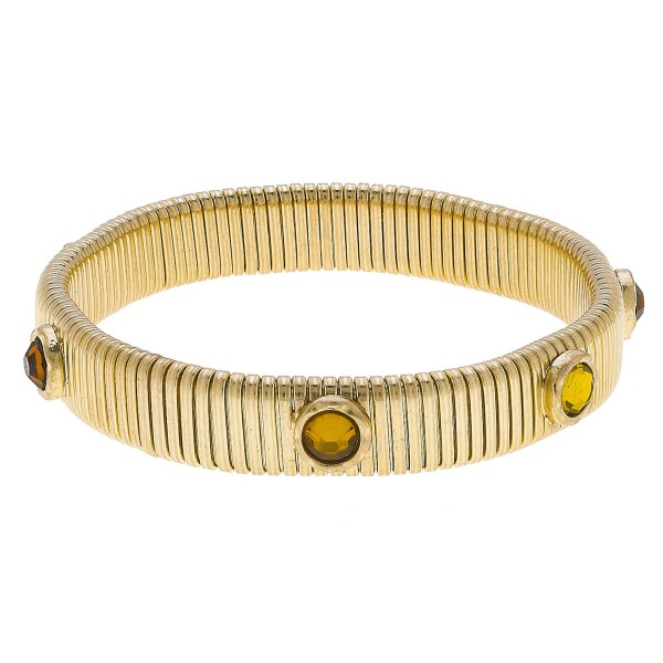 "Watch Band Bangle in Gold Featuring Rhinestone Accents.  - Band Width 11mm - Approximately 3"" in Diameter - Fits up to a 7"" Wrist"