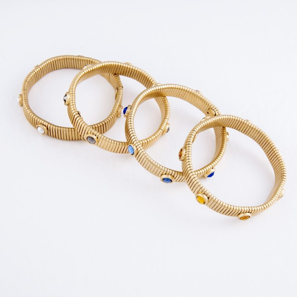 """Watch Band Bangle in Gold Featuring Rhinestone Accents.  - Band Width 11mm - Approximately 3"""" in Diameter - Fits up to a 7"""" Wrist"""