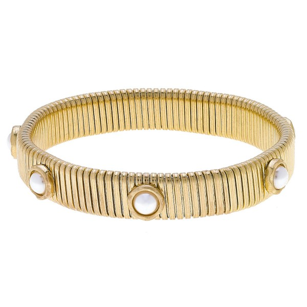 "Watch Band Bangle in Gold Featuring Ivory Pearl Accents.  - Band Width 11mm - Approximately 3"" in Diameter - Fits up to a 7"" Wrist"