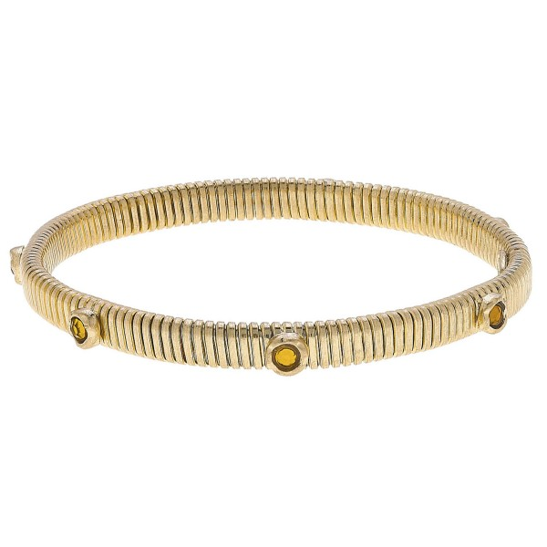 "Skinny Watch Band Bangle Bracelet in Gold Featuring Rhinestone Accents.  - Band Width 7mm - Approximately 3"" in Diameter - Fits up to a 7"" Wrist"