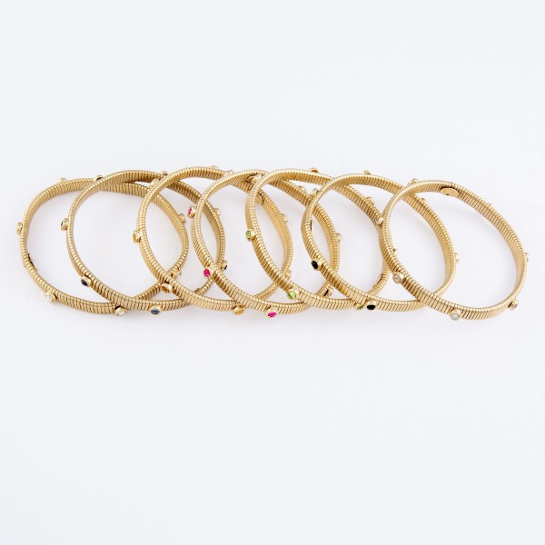 """Skinny Watch Band Bangle Bracelet in Gold Featuring Rhinestone Accents.  - Band Width 7mm - Approximately 3"""" in Diameter - Fits up to a 7"""" Wrist"""