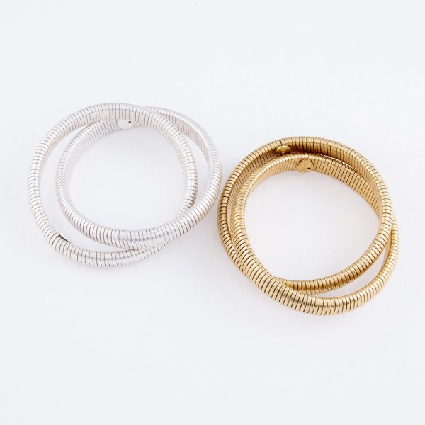 "Two-Row Interlocking Tube Stretch Bangle Bracelet Set in Worn Gold.  - 2 Piece Per Set - Approximately 3"" in Diameter - Fits up to a 7"" Wrist"