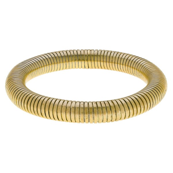 """Tube Bangle Bracelet in Worn Gold.  - Bangle Thickness 9mm - Approximately 3"""" in Diameter - Fits up to a 7"""" Wrist"""