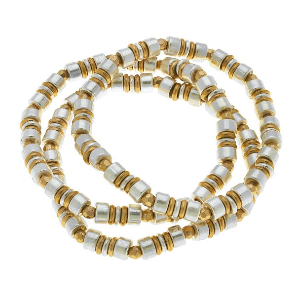 """Two Tone Heishi Beaded Stretch Bracelet Set.  - 3 Piece Per Set - Approximately 3"""" in Diameter - Fits up to a 7"""" Wrist"""