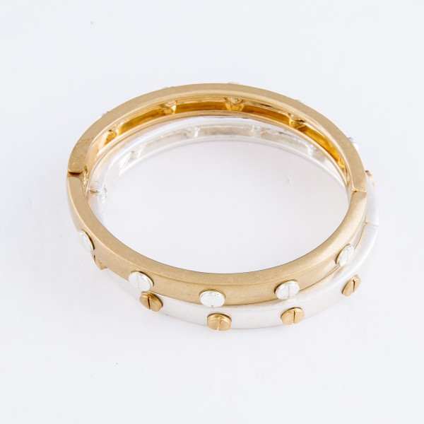 "Metal Hinge Bangle Bracelet Featuring Stud Accents in Gold.  - Approximately 2.5"" in Diameter - Fits up to a 5"" Wrist"