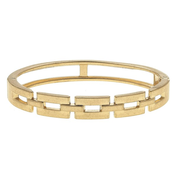 """Metal Chain Link Style Hinge Bangle Bracelet.  - Approximately 2.5"""" in Diameter - Fits up to a 5"""" Wrist"""