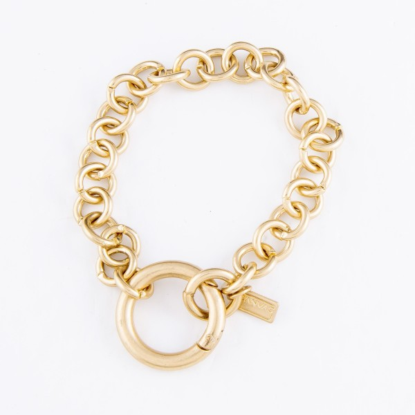 "Chain Link O-Ring Bracelet in Worn Gold.  - O-Ring Hinge Clasp Closure - Approximately 3"" in Diameter - Fits up to a 7"" Wrist"