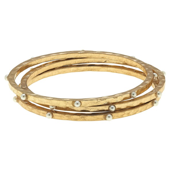 "Hammered Bangle Bracelet Set Featuring Pearl Stud Accents in Gold.  - 3 Pieces Per Set - Approximately 3"" in Diameter - Fits up to a 6"" Wrist"