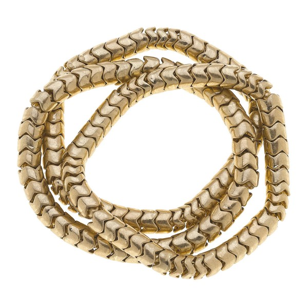 "Gold Tone Snake Beaded Stretch Bracelet Set.  - 3 Pieces Per Set - Approximately 3"" in Diameter - Fits up to a 7"" Wrist"