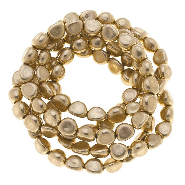 "Nugget Beaded Stretch Bracelet Set in Worn Gold.  - 7mm Bead Size - 5 Piece Per Set - Approximately 3"" in Diameter - Fits up to a 7"" Wrist"