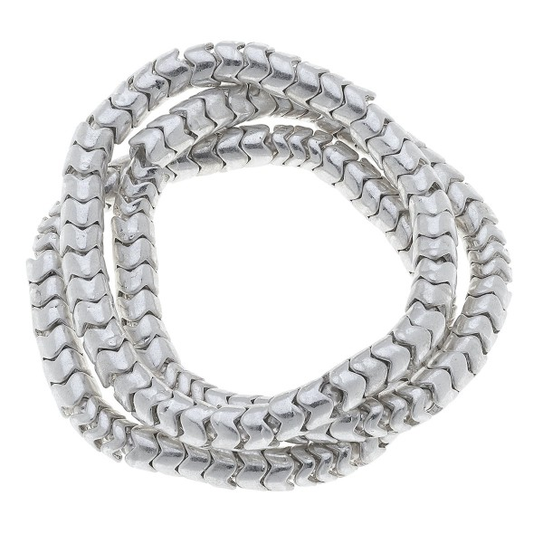 "Silver Tone Snake Beaded Stretch Bracelet Set.  - 3 Pieces Per Set - Approximately 3"" in Diameter - Fits up to a 7"" Wrist"