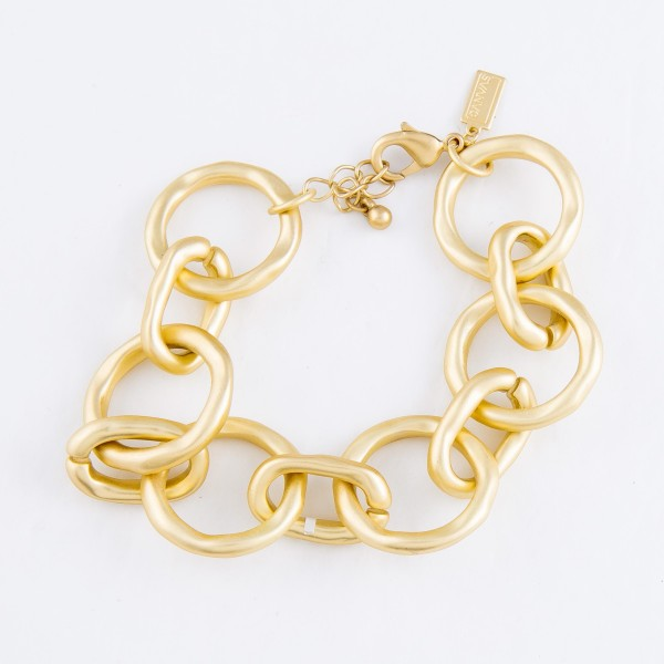 "Circle Chain Link Bracelet in a Matte Gold Finish.  - Approximately 3"" in Diameter - Fits up to a 7"" Wrist"