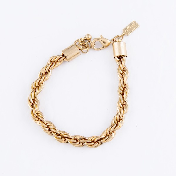 "Metal Rope Bracelet in Gold.  - Approximately 3"" in Diameter - Fits up to a 7"" Wrist"