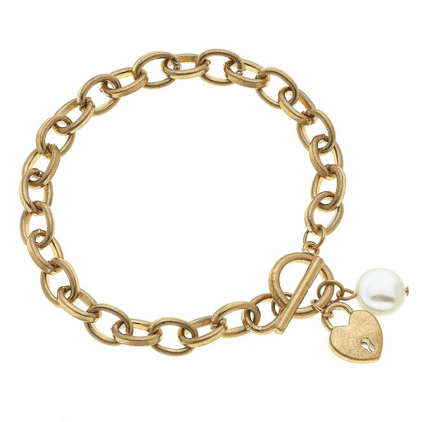 "Chain Link Ivory Pearl Heart Lock Charm Bracelet in Gold.  - Approximately 3"" in Diameter - Fits up to a 6"" Wrist"