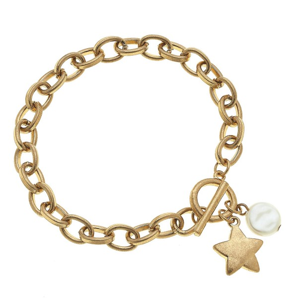 "Chain Link Ivory Pearl Star Charm Bracelet in Gold.  - Toggle Bar Clasp Closure - Approximately 3"" in Diameter - Fits up to a 6"" Wrist"