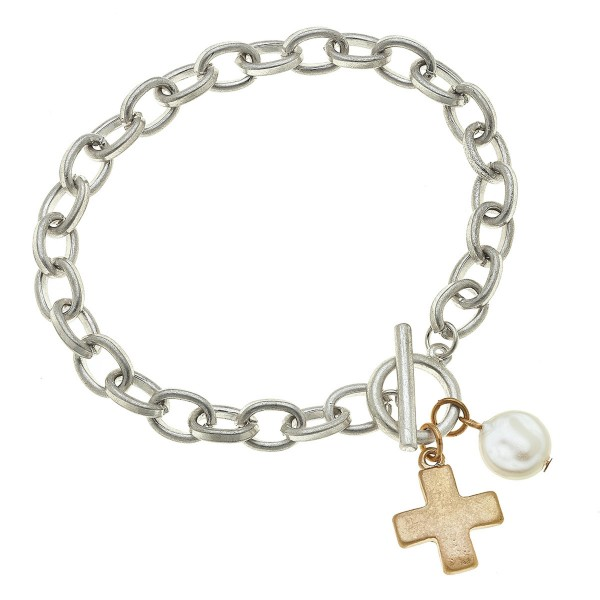 "Two Tone Chain Link Ivory Pearl Cross Charm Bracelet.  - Toggle Bar Clasp Closure - Approximately 3"" in Diameter - Fits up to a 6"" Wrist"