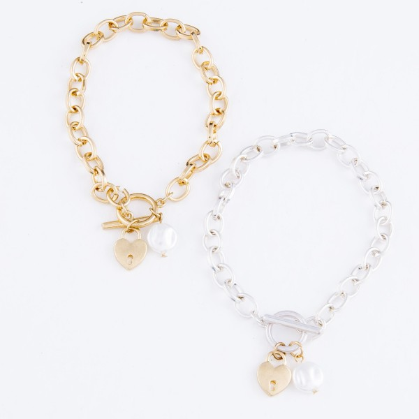 "Two Tone Chain Link Ivory Pearl Heart Lock Charm Bracelet.  - Approximately 3"" in Diameter - Fits up to a 6"" Wrist"