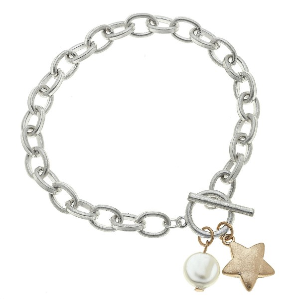 "Two Tone Chain Link Ivory Pearl Star Charm Bracelet.  - Toggle Bar Clasp Closure - Approximately 3"" in Diameter - Fits up to a 6"" Wrist"