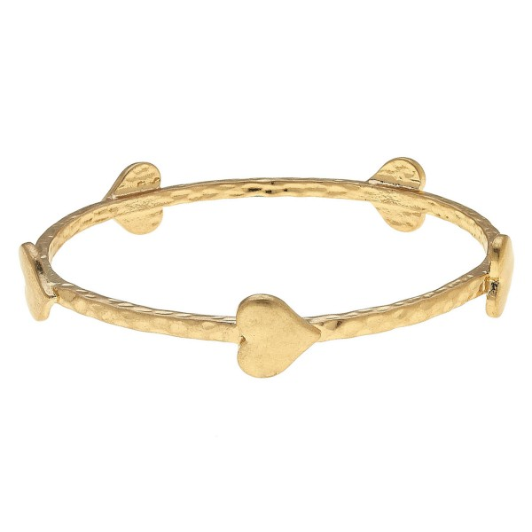 "Hammered Bangle Bracelet Featuring Heart Details in Gold.  - Approximately 3"" in Diameter - Fits up to a 6"" Wrist"