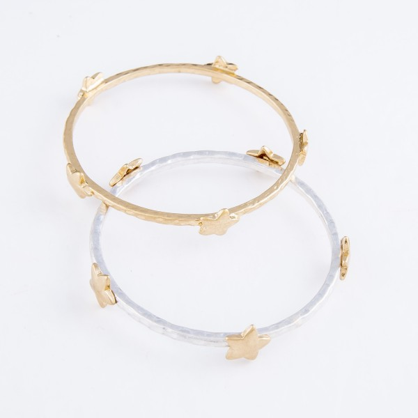 "Hammered Bangle Bracelet Featuring Star Details in Gold.  - Approximately 3"" in Diameter - Fits up to a 6"" Wrist"