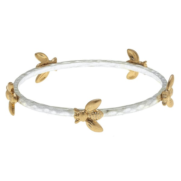 "Two Tone Designer Inspired Bangle Bracelet Featuring Bee Accents.  - Approximately 3"" in Diameter  - Fits up to a 6"" Wrist"