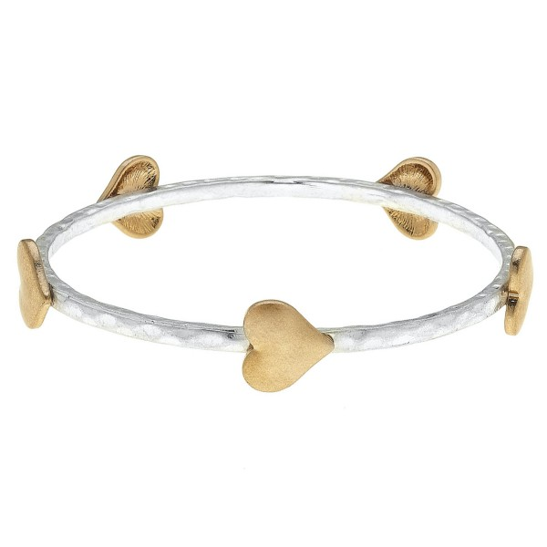 "Two Tone Hammered Bangle Bracelet Featuring Heart Details.  - Approximately 3"" in Diameter - Fits up to a 6"" Wrist"