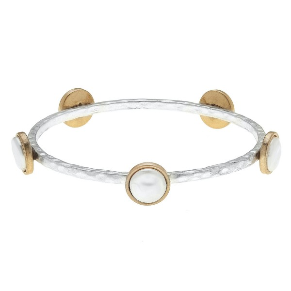 "Two Tone Hammered Bangle Bracelet Featuring Pearl Details.  - Approximately 3"" in Diameter - Fits up to a 6"" Wrist"