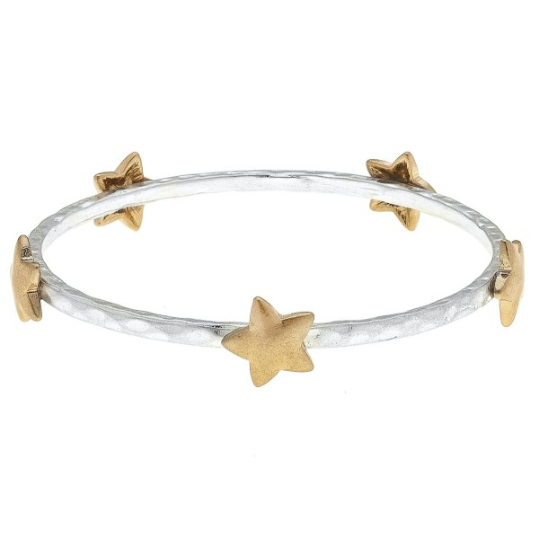 "Two Tone Hammered Bangle Bracelet Featuring Star Details.  - Approximately 3"" in Diameter - Fits up to a 6"" Wrist"