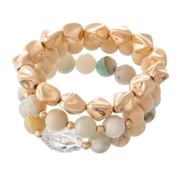 """Semi Precious Beaded Crystal Mix Stretch Bracelet Set Featuring Wood Beads.  - 3pcs per set - Approximately 3"""" in Diameter - Fits up to a 7"""" Wrist"""