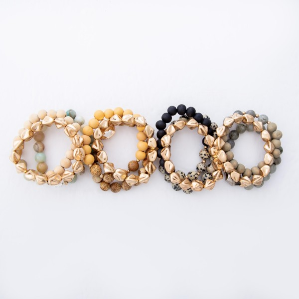 "Semi Precious Beaded Crystal Mix Stretch Bracelet Set Featuring Wood Beads.  - 3pcs per set - Approximately 3"" in Diameter - Fits up to a 7"" Wrist"